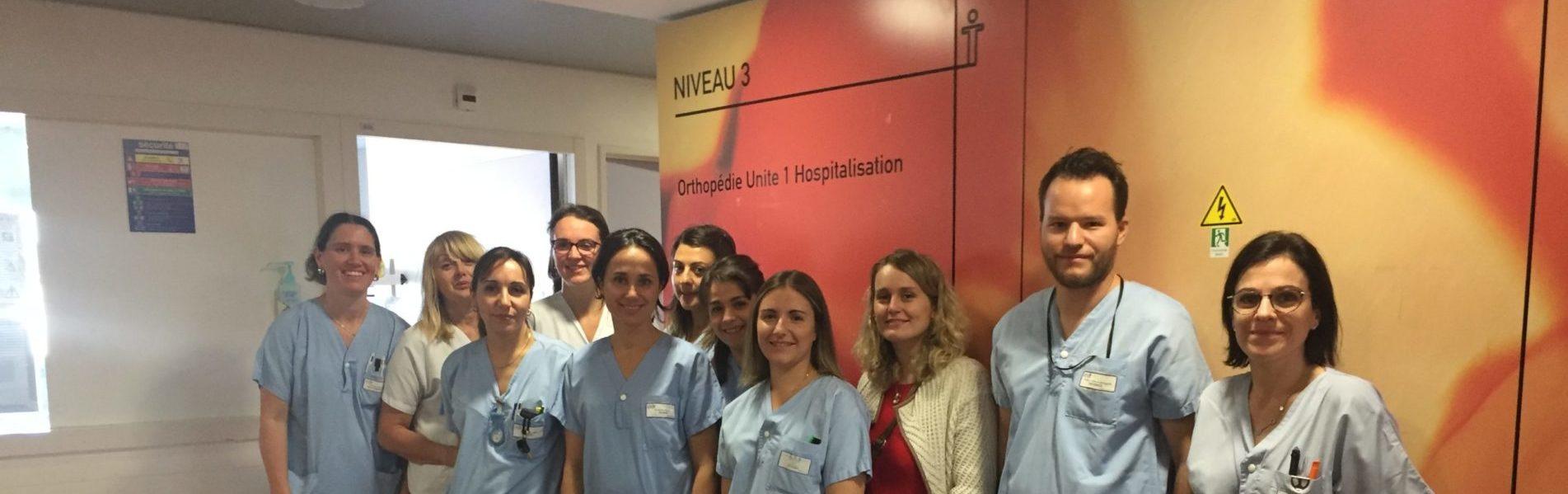 équipe paramédicale service de chirurgie orthopédie traumatologie CHU de Saint-Etienne