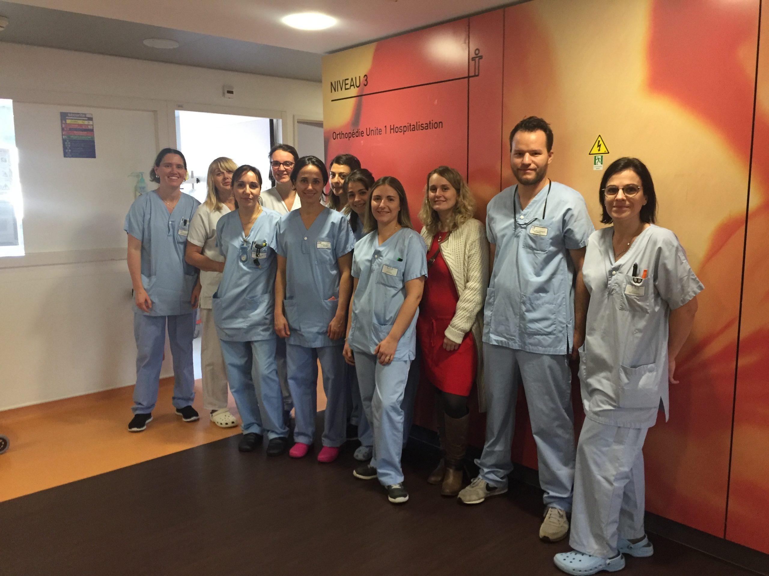 équipe soignante service orthopédie CHU de Saint-Etienne