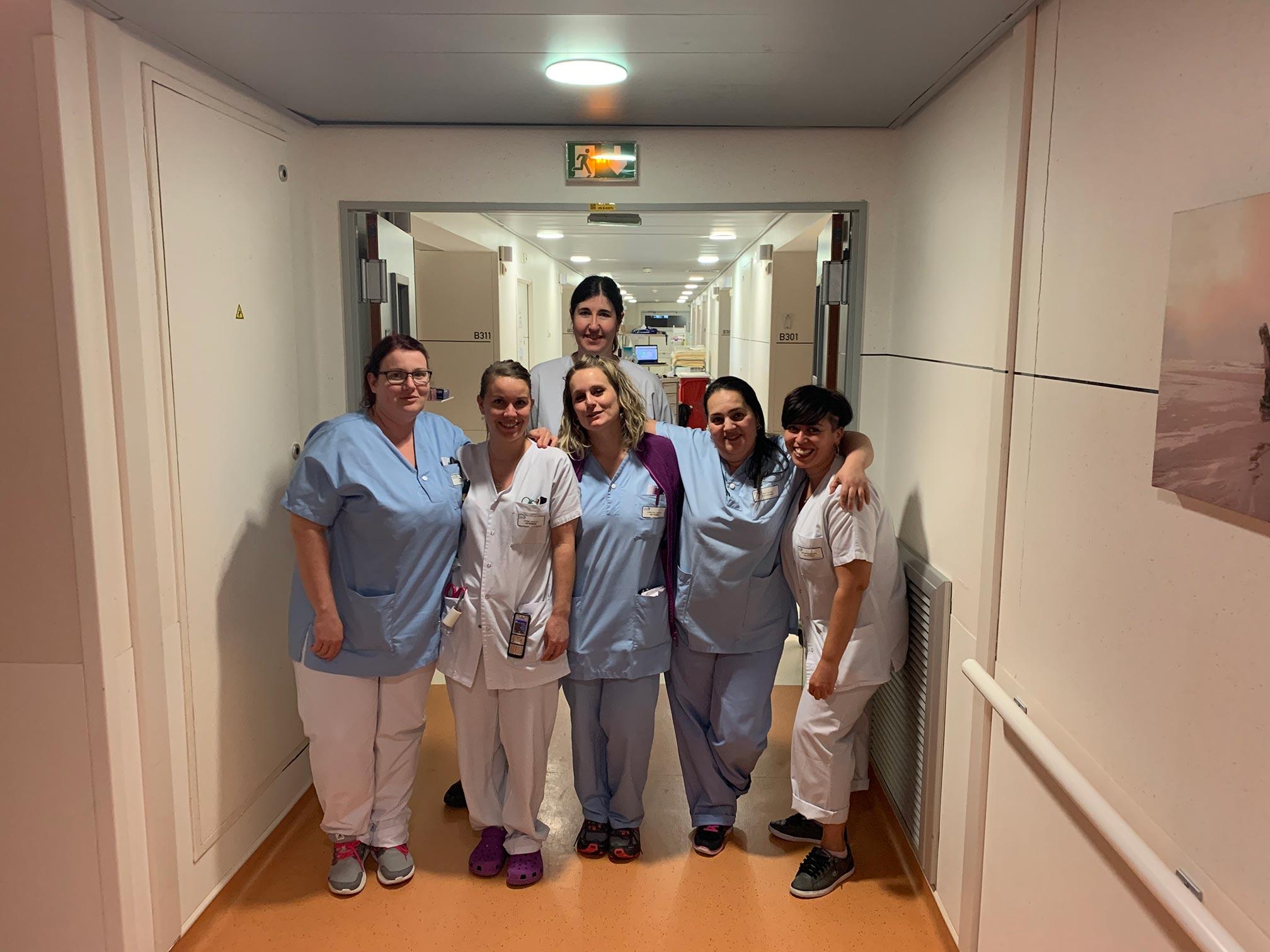 équipe para-médicale hospitalisation orthopédie-traumatologie CHU de Saint-Etienne